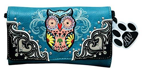 HW Collection Western Owl Art Heart Crossbody Wristlet Clutch Wallet