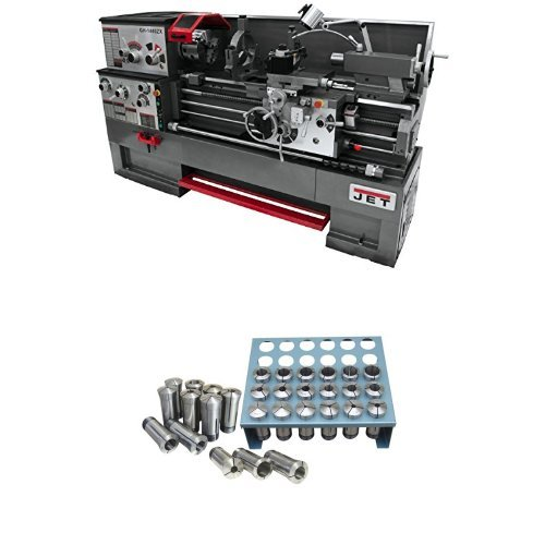 JET GH-1640ZX TAK Lathe with Taper Attachment Installed with Premium 35 Piece 5-C Collet Set With Rack (1/32nd)