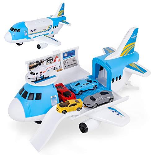 Shayson Transport Cargo Airplane Car Toy Play Set para niños y niñas de 3 años o más, Viene con 4 Autos, 1 helicóptero, Juguete Preescolar de Bricolaje para niños (Azul)