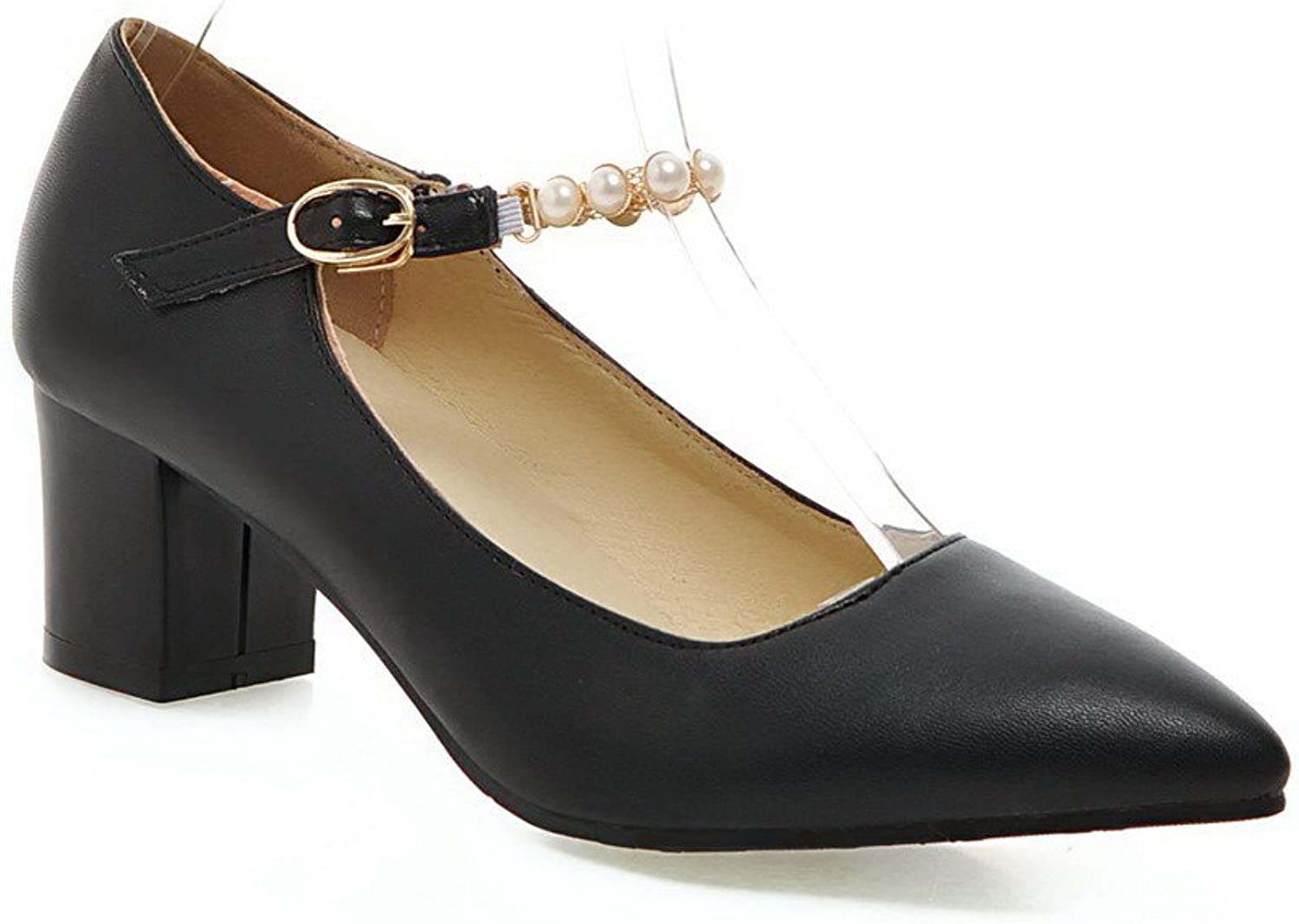 WeenFashion Women's Pu Solid Buckle Pointed Closed Toe Kitten Heels Pumps-shoes