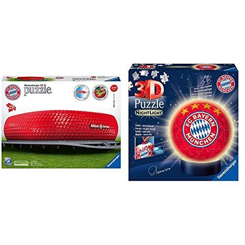 Ravensburger 3D Puzzle Allianz Arena mit 216 Teilen, FC Bayern München Fanartikel & 3D Puzzle Nachtlicht FC Bayern München - für Kinder ab 6 Jahren, LED Nachttischlampe mit Klatsch-Mechanismus