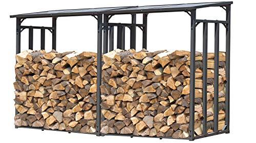 GRASEKAMP Qualität seit 1972 2 Stück Kaminholzlager 130 x 60 x 150 cm mit Doppelstegplatten Regal Stapelhilfe Aussen