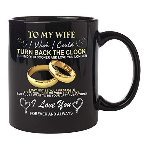 Gaoguan à Mon Mari/Mujer, Je Souhaite - Taza de reloj para parejas, bodas, cumpleaños, taza de café (12 oz)