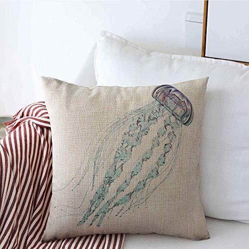 sherry-shop Funda de Almohada Capillata Medusa Cnidaria Blanco Naturaleza Ciencia Medusa más Grande Biología acuática Biología Lino 20 'x 20'