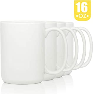 16 OZ Porcelain Coffee Mugs, Smilatte Classic Blank Ceramic Cup with Large Handle for Tea Latte Cappuccino, Set of 4, White