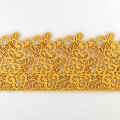 Coximus gebrauchsfertige essbare Spitze für filigrane Spitzen-Deko von Torten   38 x 8 cm fertige Zucker-Spitze in der Farbe Gold mit Blüten & Blätter   fertiges Icing zum Gebrauch   Sweet Lace