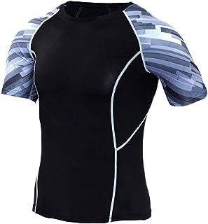 Black Compression Shirt Mens Slim Dri Fit Short Sleeve Workout Shirts