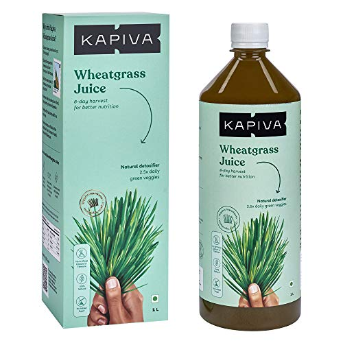 Kapiva Wheatgrass Juice 1L | Ayurvedic Juice for Detoxification | High Chlorophyll, 8th day harvested Wheatgrass | No Added Sugar