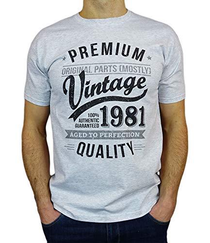 Camiseta vintage Hombre - Vintage Year - Aged to Perfection - 40 Cumpleaños Años - Regalo de Cumpleaños Camiseta para Hombre - Cuero Gris M
