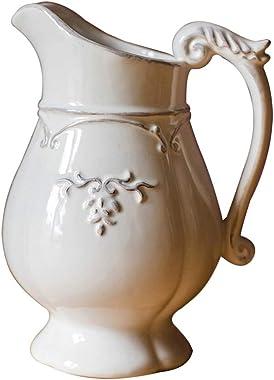MaxTom Jarra rústica Shabby Chic, Jarra de cerámica, Jarra de Leche, jarrón de Granja, Soporte de Flores Decorativo para baño