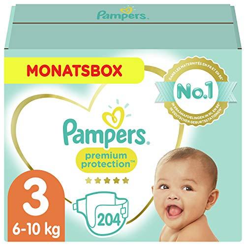 Pampers Größe 3 Premium Protection Baby Windeln, 204 Stück, MONATSBOX, Weichster Komfort Und Schutz (6-10kg)