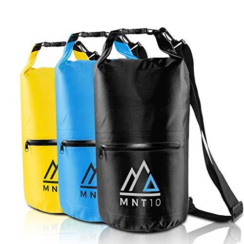 MNT10 Drybag 10l Packsack wasserdicht mit Tragegurt I Dry Bag Waterproof I wasserdichte Tasche für Reisen, Outdoor und Camping I Seesack wasserdicht und widerstandsfähig (Schwarz, 10 Liter)