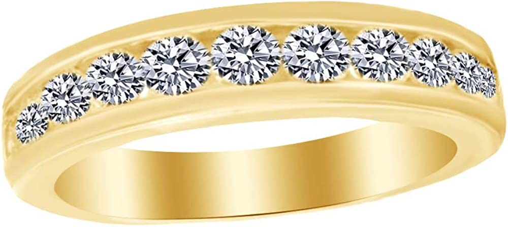 AFFY 14K Solid Gold White Cubic Zirconia Anniversary Band Ring (1 Cttw)