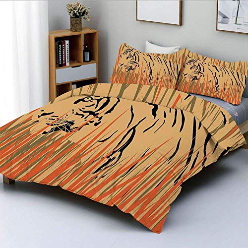 Zozun Duvet Cover Set,Tiger in the Bushes Camouflage Carnivore Predator Feline Africa Animal Art Decorative 3 Piece Bedding Set with 2 Pillow Sham,Peach Orange,Best Gift For Kids & Ad