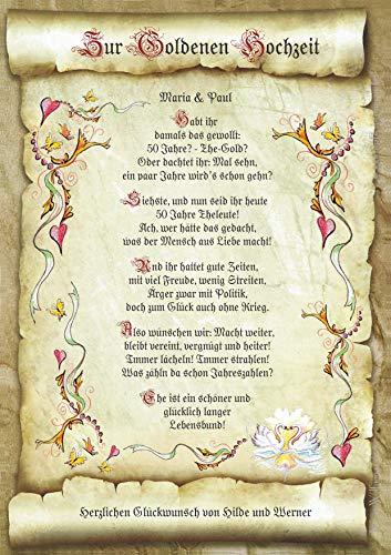 Die Staffelei Geschenk-Urkunde Goldene Hochzeit, Goldhochzeit, Zeichnung mit humorvollem Gedicht, A4 Bild-Präsent zum 50. Jubiläum, persönlich durch Wunschtext (inklusive)