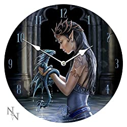 Anne Stokes Water Dragon Bedroom Wall Clock Round Gothic Medieval Clock Now9955