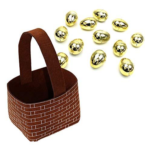 por Robelli Cesta de fieltro marrón de Pascua y 12 huevos de relleno dorados
