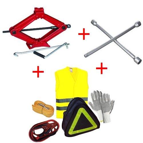 Compatible con Peugeot 5008 Kit DE Emergencia Carretera para Coche 6 ARTÍCULOS Jack+Guantes+Cables BATERÍA+Cuerda DE Remolque+Chaqueta Fluo+Llave Cruzada