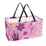 sacchetto della spesa riutilizzabile cestini portaoggetti grandi da 50 litri cestino per la spesa borse per la spesa ragazze castello rosa corona bacchetta magica regali fiori principessa