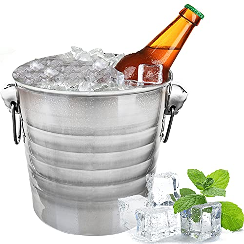 KochFlair Eiswürfelbehälter 6L | Sektkühler | Eiseimer Edelstahl | Eiskühler | Eiskübel | Getränkekühler | Bierkühler und Weinkühler | Silber Eisbehälter | Eiskübel mit Handgriffen