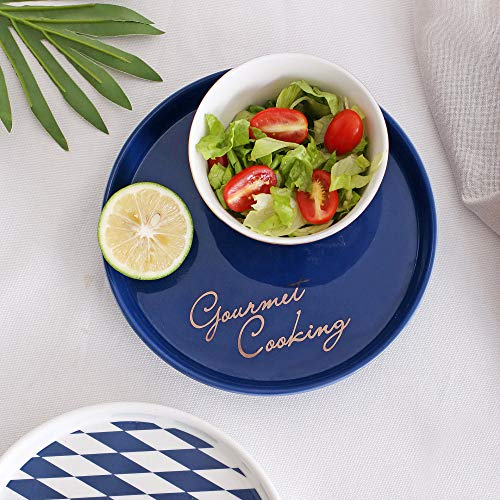 MYYXGS Plato de cena para decoración del hogar, plato de cerámica, plato de cena, plato de ensalada, postre, plato occidental para uso de cocina