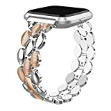TOYOUTHS Metal Link Compatible with Fitbit Versa/Versa 2/Versa Lite Special Edition Bands Women Men Stylish Strap Bracelet Replacement Wristbands Accessories 5.5-8 inches (Silver+Dark Rose Gold)