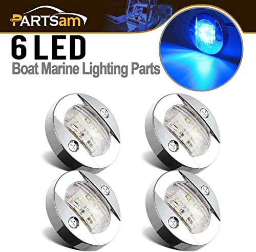 "Partsam 4Pcs 3"" Inch Round Chrome Marine Clear Lens Blue LED Transom Mount Stern Anchor Navigation Lights IP67 Waterproof,Round Boat Marine Lamps 6-2835-SMD,Boat LED Stern Lights 12V"