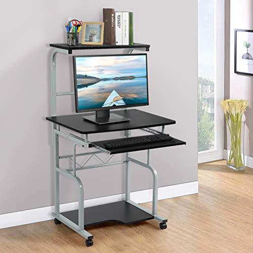 Scrivania per Computer, Scrivania Porta PC con 4 Ruote Tavoli Ufficio Postazioni di lavoro per Computer, Tavolo per Lavoro con Tastiera Scorrevole, Nero, 54 x 45 x 128 cm