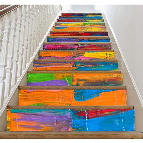 BUYAOBIAOXL Almohadillas para escaleras, alfombra de pisada para escaleras, 7 colores, arco iris, adhesivo autoadhesivo para escaleras, mural, vinilo adhesivo decorativo para papel pintado (color: B)