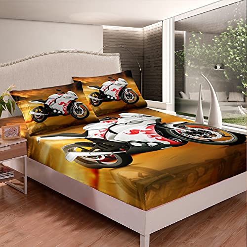 Homemissing Juego de sábanas de motocross, juego de sábanas y fundas de almohada, para niños, niñas, 3D, ropa de cama para bicicleta, puesta del sol, carreras, motocicleta, 3 piezas, tamaño doble
