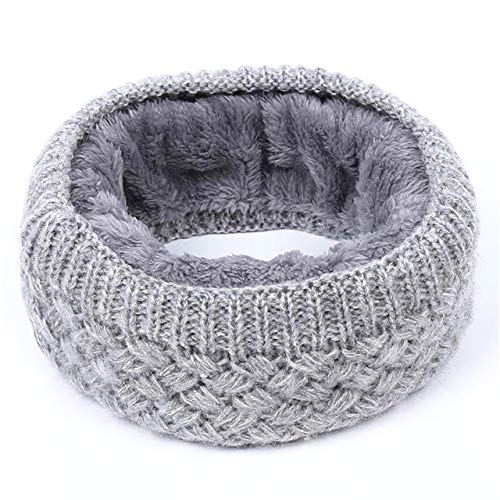 1PC Winter Warm Brushed Knit Neck Warmer Circle Go Out Wrap Cowl Loop Snood Shawl Outdoor Ski Climbing Scarf for Men Women - Grey