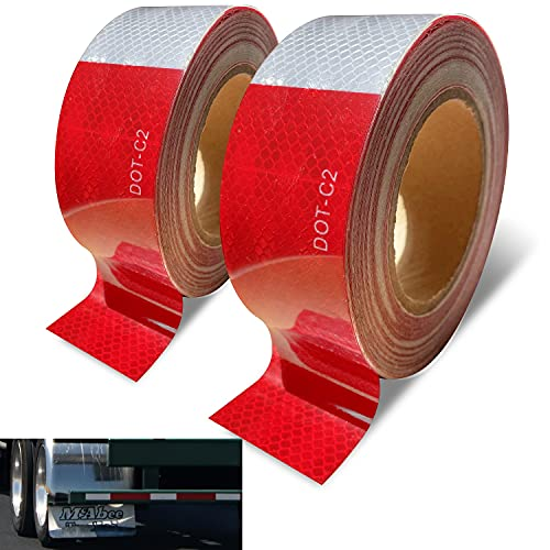 Trailer Reflective Tape Outdoor DOT C2 Reflector Tape 2 inch x 100 feet Waterproof White Silver Red Reflective Tape for Cars Trailers Trucks 200 FT High Visibility Contrast Duct Safety Sticker Strips