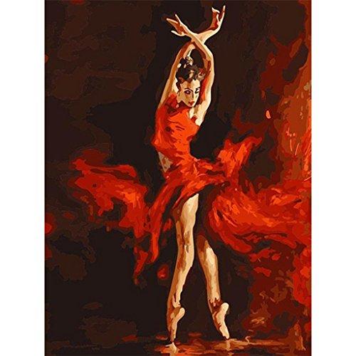Koehope - Kit de pintura al óleo digital para decoración de pared, sin marco, para bailarina de fuego