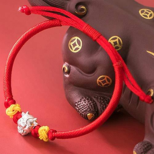 Plztou Lucky Charm Bracelet 2021 Año del OXT S925 SWUDY Lucky Ox Piña Nudo ROPO Red Cuerda Trenzada Pulsera Zodiacal Pulsera Ajustable Amuleto Atraer Riqueza