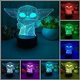 Lámpara de ilusión 3D LED luz nocturna, Baby Yoda 7 cambio de color...