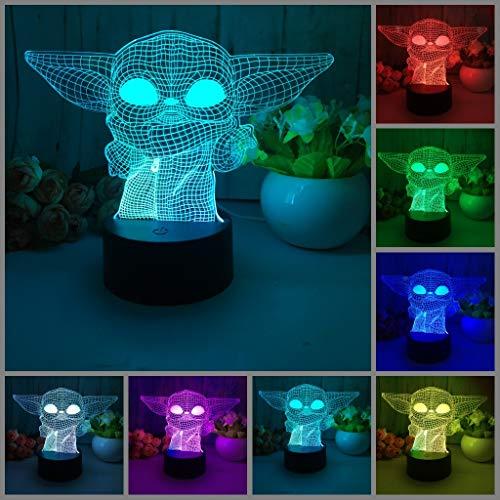 Preisvergleich Produktbild Baby Yoda 3D-Illusionslampe,  LED-Nachtlicht,  7 Farbwechsel,  Druckschalter,  Schreibtischdekoration,  Lampen,  Geburtstags- oder Weihnachtsgeschenk,  mit Acryl-Flach- und ABS-Basis und USB-Kabel (B-YD)