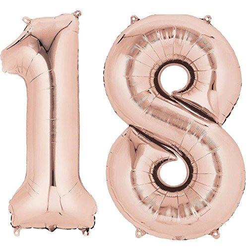 Ouinne Globo 18 Años, 40 Pulgadas Globo del Cumpleaños Número 18 Helio Globos para La Decoración Boda Aniversario (4)