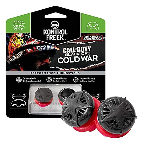 KontrolFreek Call of Duty: Black Ops Cold War para Xbox One y Xbox Series X/S   Performance Thumbsticks   2 Alturas elevadas, convexo   Negro/Rojo.