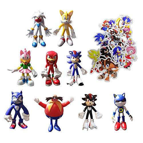 XINSHENG Sonic Big Figure 9 unids/lote 4 pulgadas Sonic The Hedgehog moderno Sonic figura de acción accesorio