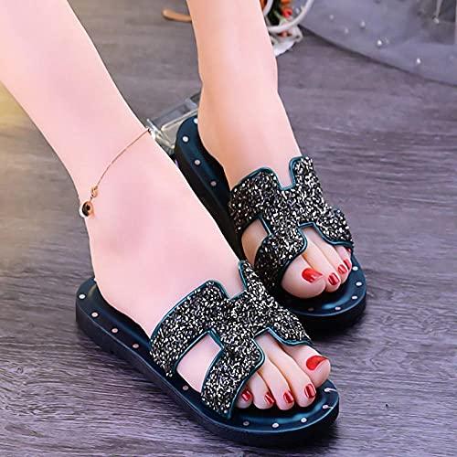 chancla puma mujer,Sandalias y zapatillas de color grueso de verano de Diamond Diamond, zapatillas de baño de belleza con resueltos solas impermeables y antideslizantes de dibujos animados.-38