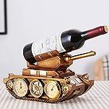 Equipo de Vida Estante de Vino Retro Europeo con Reloj Estante Decorativo de Vino Tinto Hogar Sala de Estar Gabinete de Vino Decoración Regalo Adornos de Vino
