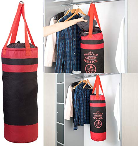 infactory Wäschesammler: Wäsche-Boxsack Rocky mit Kordelzug und Aufhänge-Ösen (Wäsche-Punchingball)
