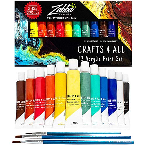 Acrylic Paint Set 12 Colors by Crafts 4 ALL Perfect for Canvas, Wood, Ceramic, Fabric