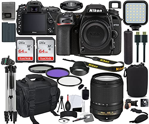 Nikon D7500 DSLR Camera with 18-140mm Lens Bundle (1582) + Prime Accessory Kit Including 128GB Memory, Light, Camera Case, Hand Grip & More