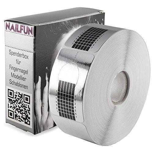 NAILFUN - 1 Rolle (500 Stück) selbstklebende SILBER SQUARE-Form Modellier Schablonen Modellierschablonen für die künstliche Fingernagel-Modellage
