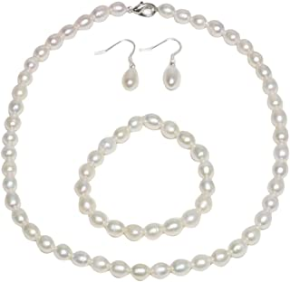 Gem Stone King Rhodium Plated 3pc Cultured Freshwater White Pearl Necklace Bracelet Earring Set