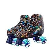 XUDREZ Roller Skates for Women Men Microfiber Leather Fashion Roller Skates Shiny Four Wheels Roller Skates High-top Roller Skates (Black Flash Wheels,42=US: 8.5)