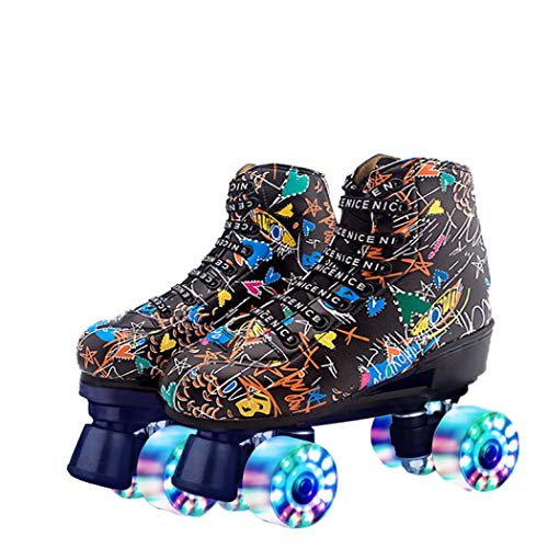 Youth Graffiti Roller Skate, Four-Wheels Roller Skates Classic Roller Skates for Girls and Ladies Indoor Outdoor (Black Flash,30)