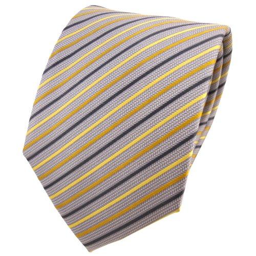 TigerTie diseñador corbata de seda - amarillo dorado plata gris rayas