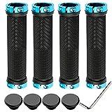 QitinDasen 2 Pares Premium Puños Bicicleta, Puños Manillar Antideslizante Ergonomicos, Empuñadura BMX, Puños MTB, Protector Manillar Bicicleta, para Mango de Diámetro 22mm (Azul)